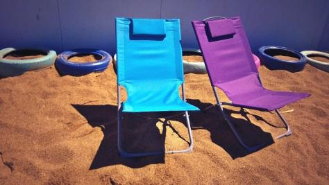 deck chairs on our urban beach